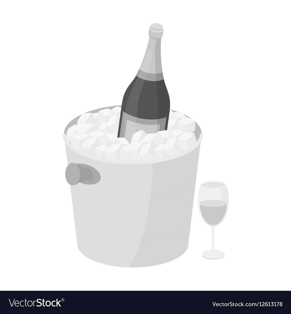 Champagne bottle in an ice bucket icon in