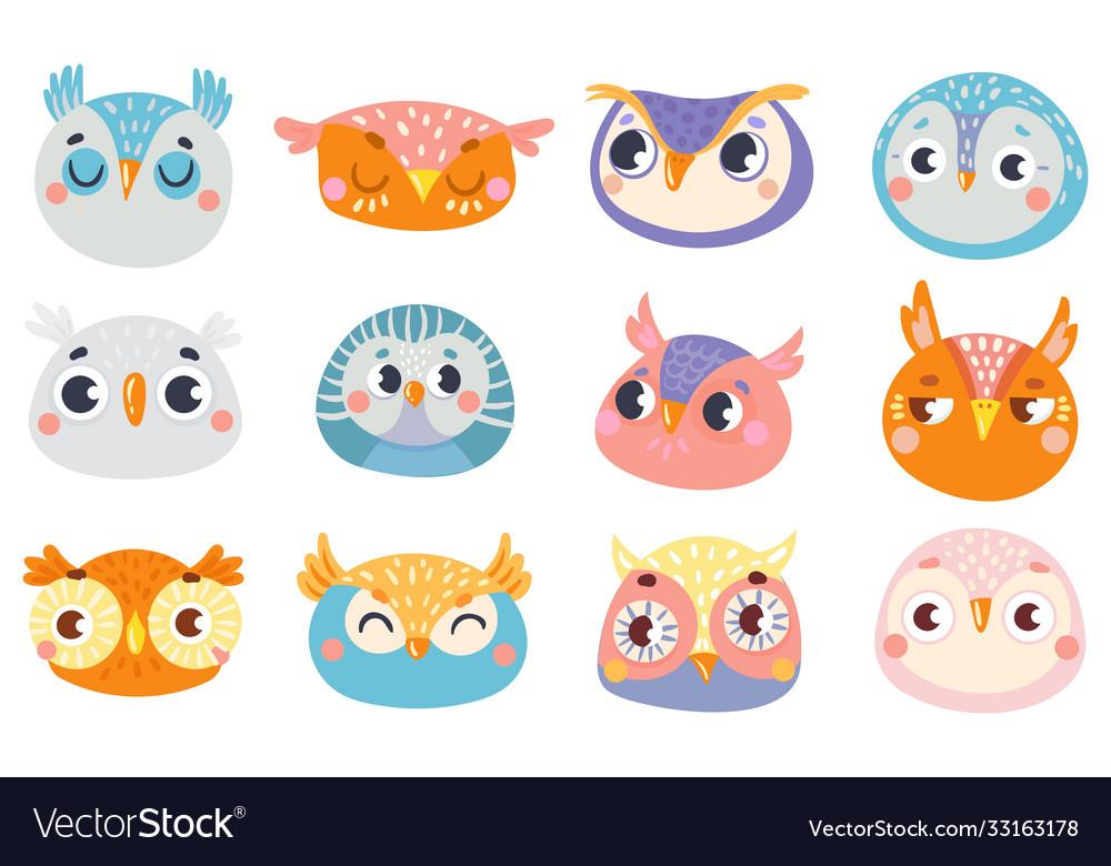 Cute owl faces set face owl fun drawing