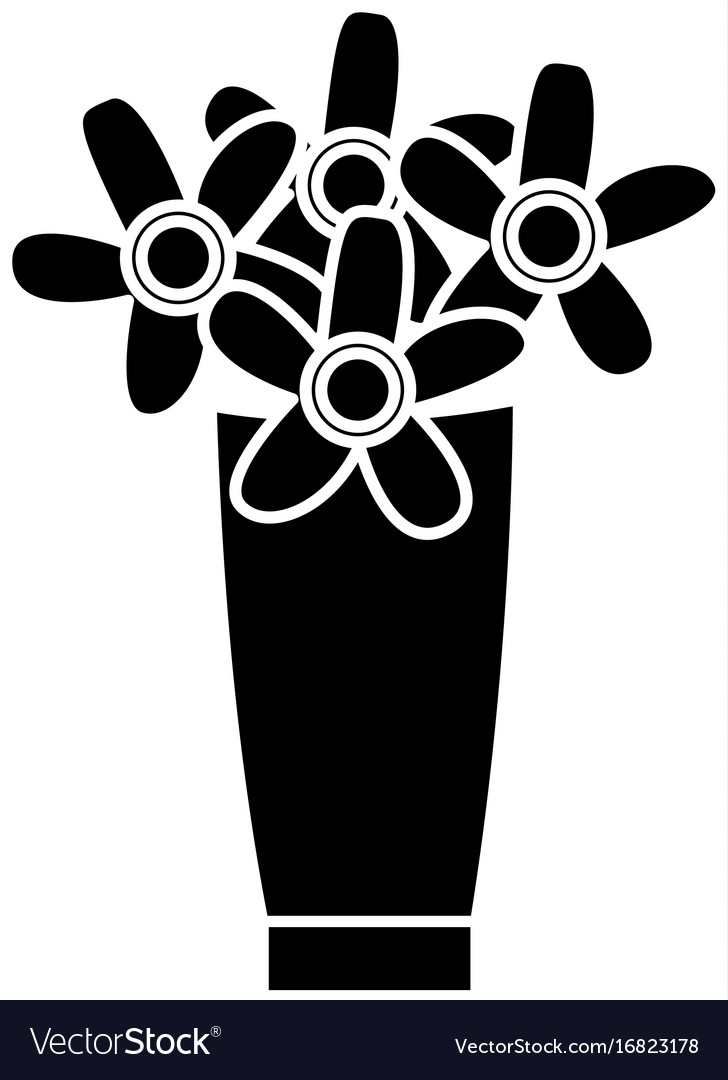 Flower bouquet vase decorative plants cartoon Vector Image