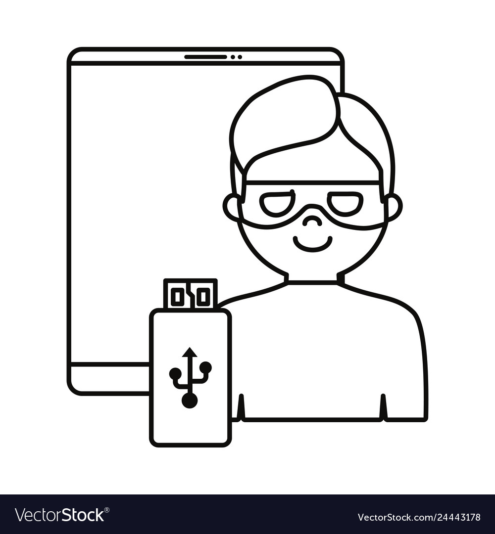 Hacker cellphone usb white background
