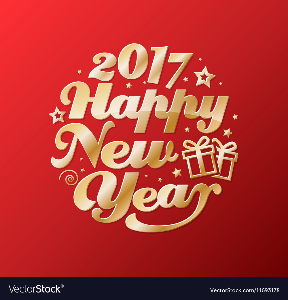 Happy New Year gold lettering circle Modern