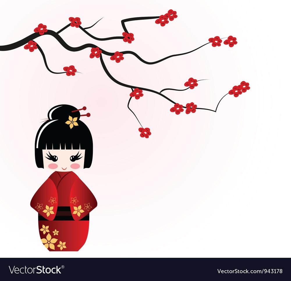 Kokeshi doll under sakura branch vector image
