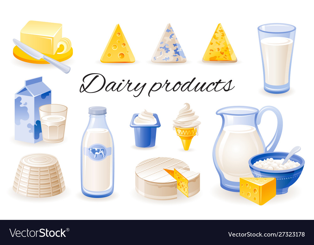 Milk dairy product icon set with cheese cheddar