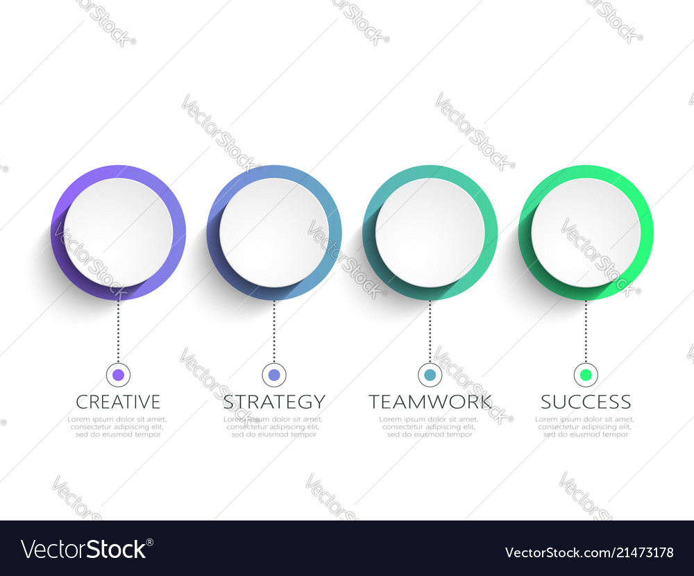 Modern 3d infographic template with 4 steps for