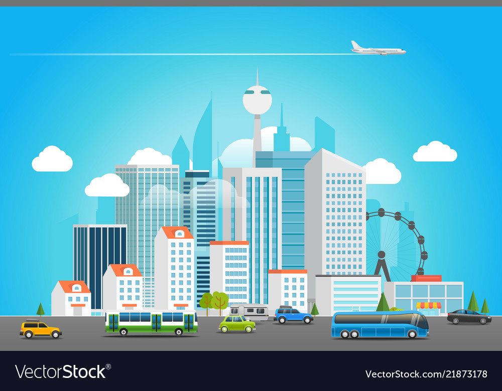 Modern city life cityscape with transport