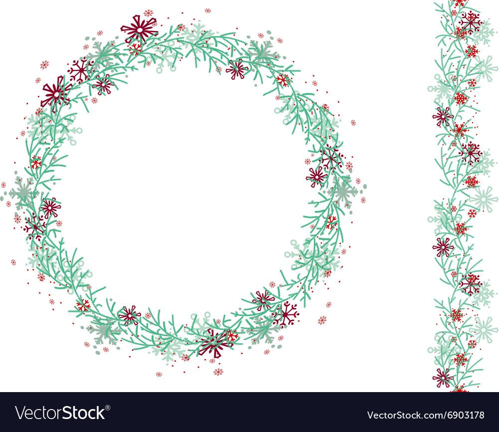 Round Christmas wreath isolated on white