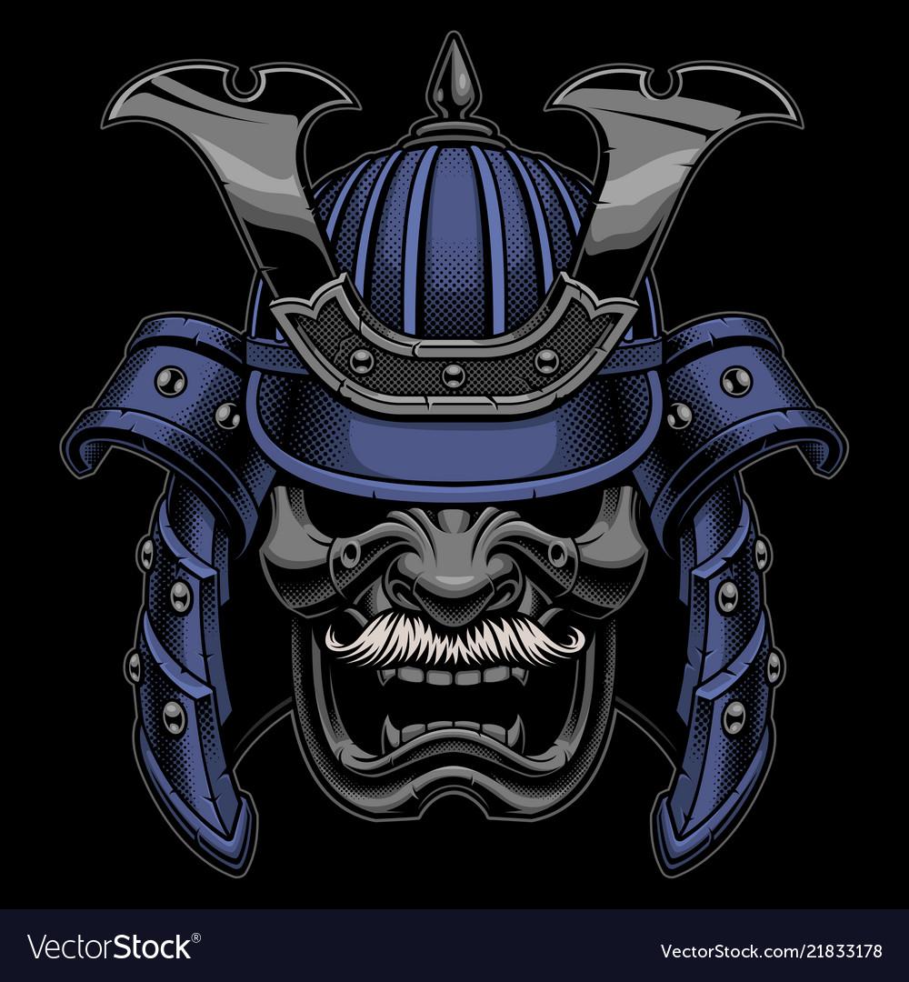 Samurai warrior mask with mustache