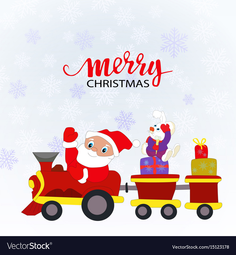 Santa claus and a toy train with gifts