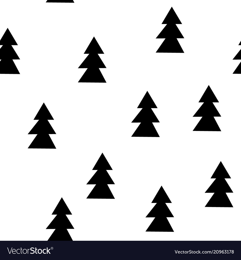 Seamless patterns with black fir-trees hand drawn