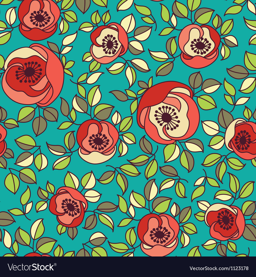 Seamless vintage rose pattern on green background vector image