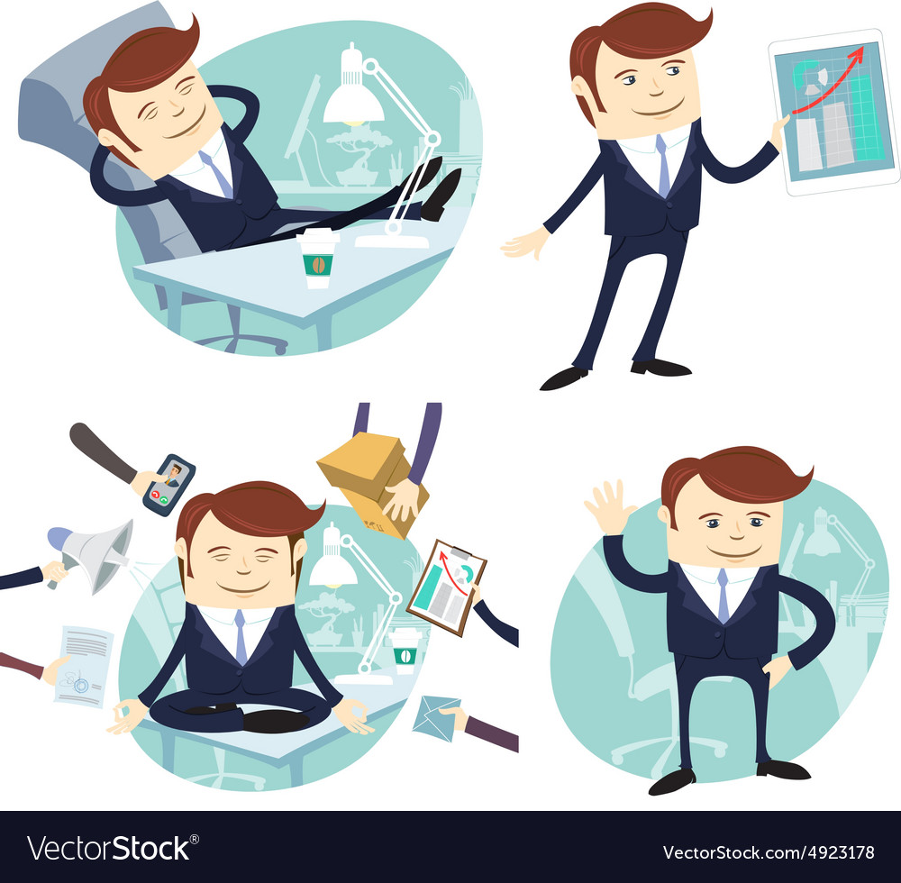 Set of officeman lazy worker foot on desk salesman vector image