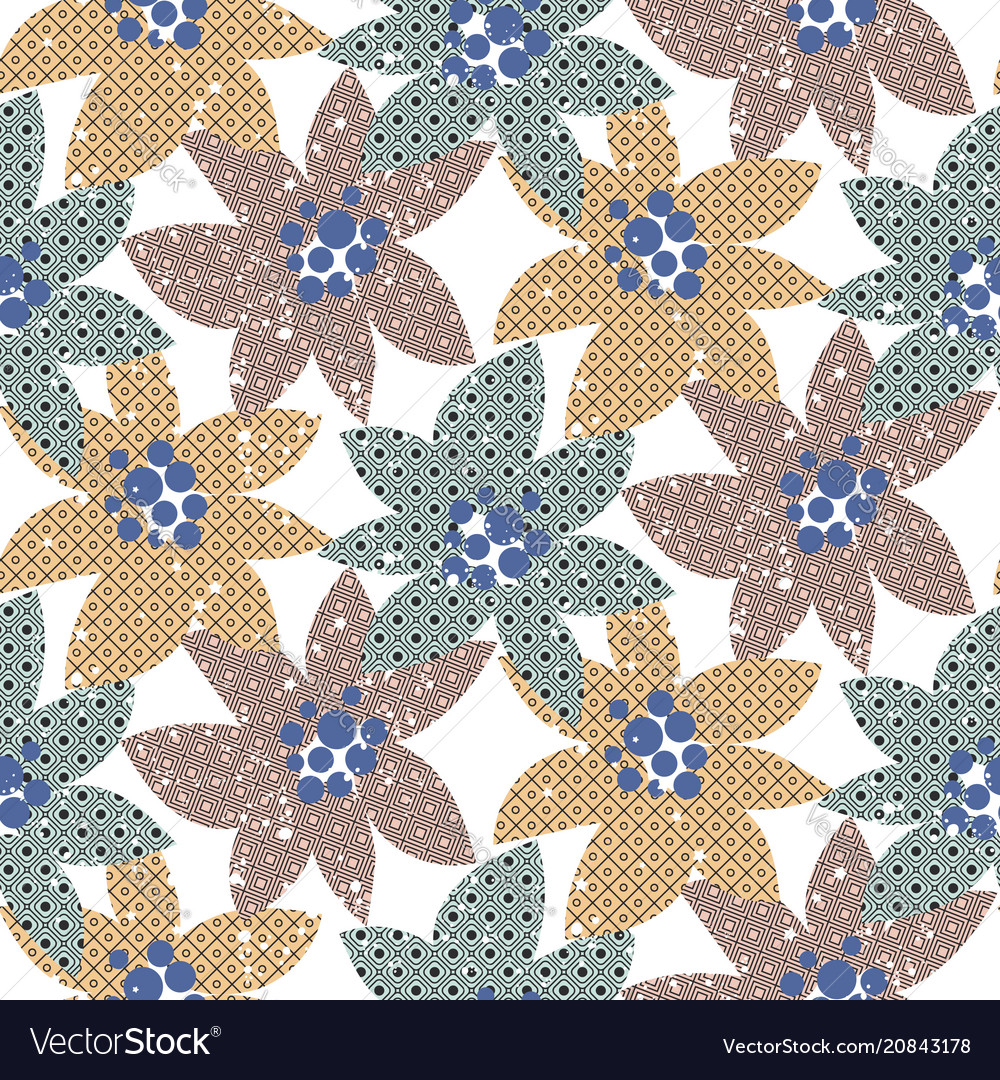Shaded abstract flower blue seamless
