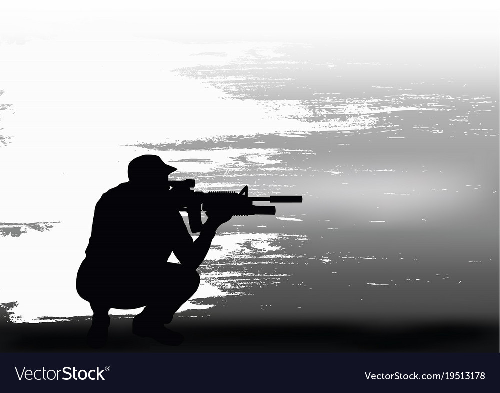 Sniper prepares for shooting vector image