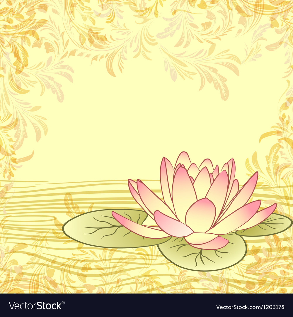 Vintage grunge paper background with lotus flower vector image mightylinksfo