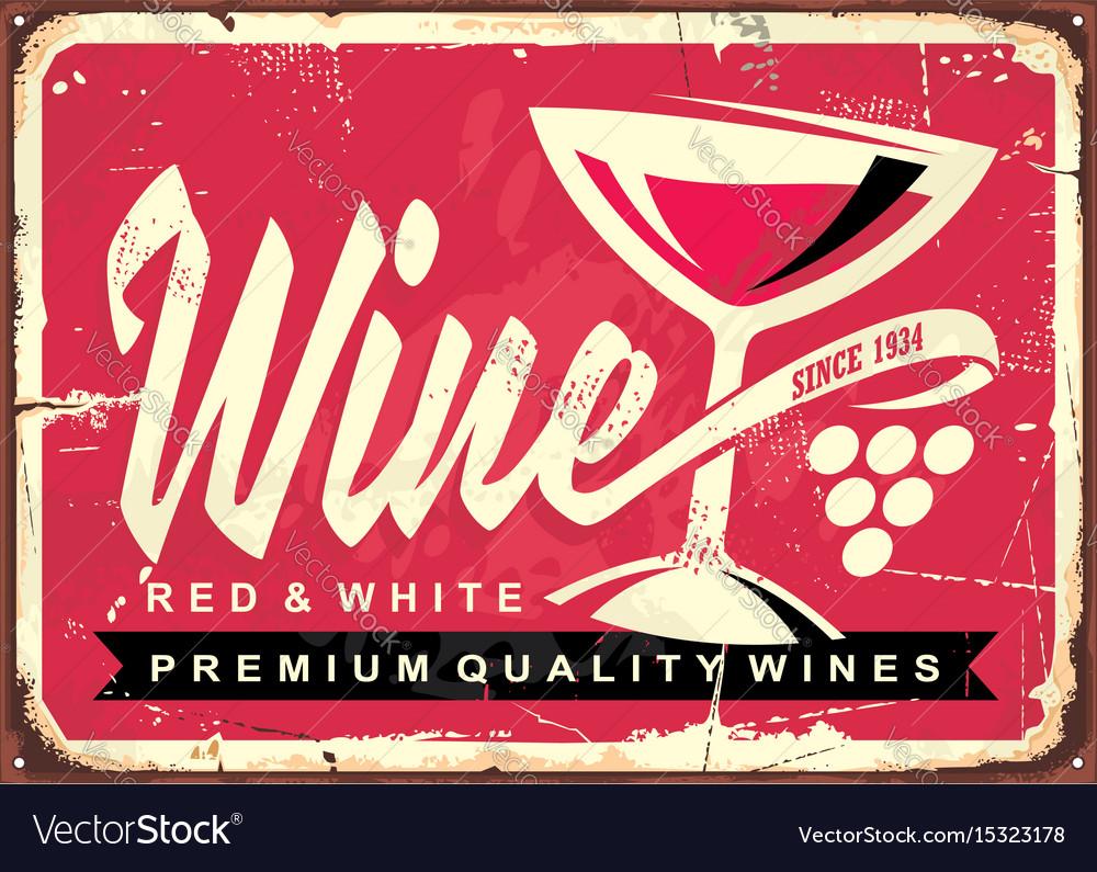Wine vintage tin sign