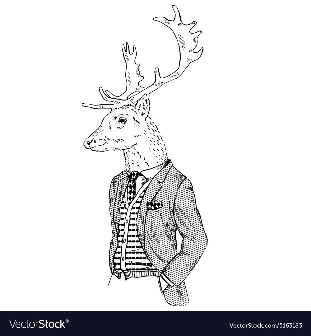 Anthropomorphic design of deer dressed up in retro