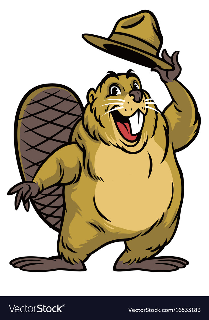 cartoon of beaver character wearing a hat vector image rh vectorstock com beaver cartoon pictures canadian beaver cartoon images