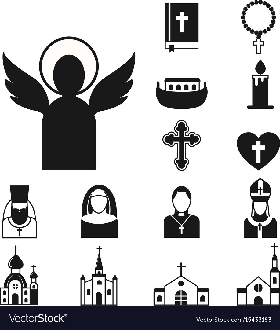 christianity religion flat icons royalty free vector image