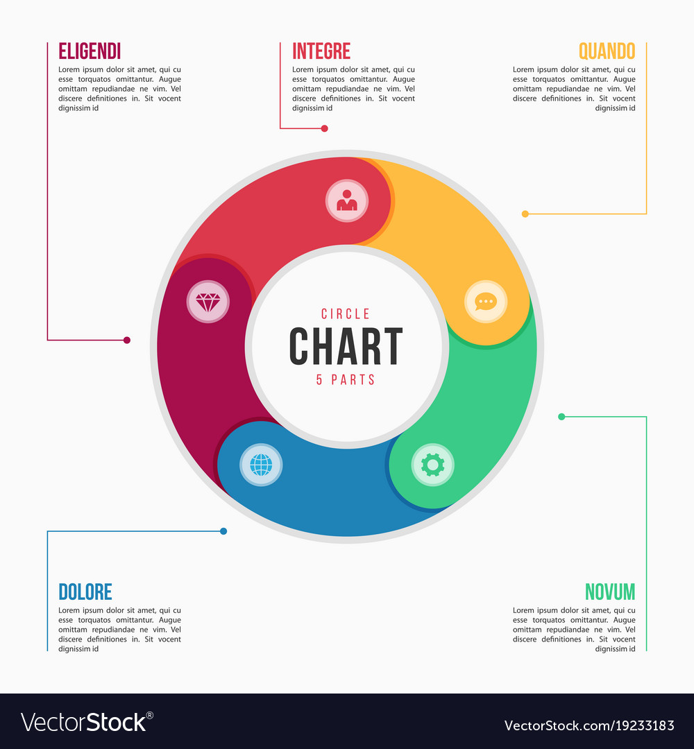 circle chart infographic template with 6 parts vector image