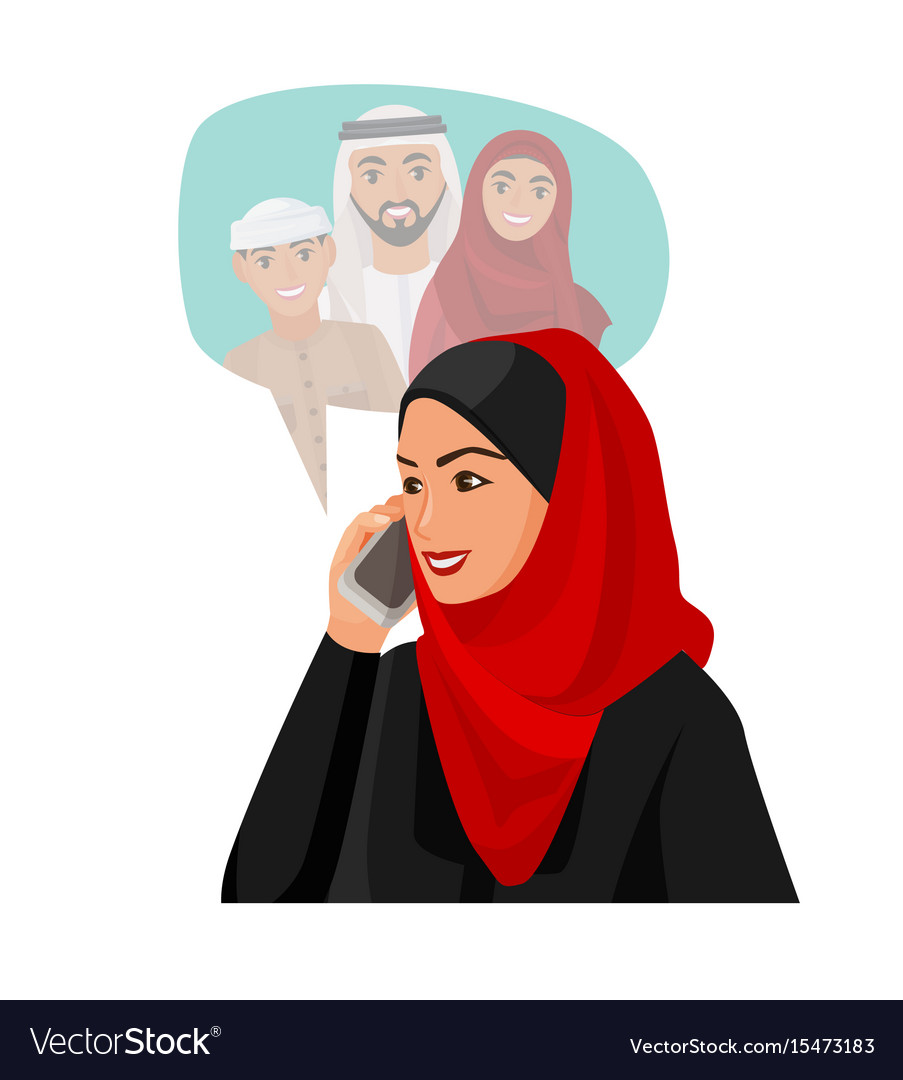 Muslim woman in hijab talking over phone with
