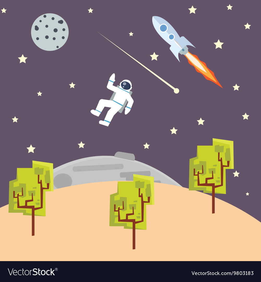 Outer space kids style with spaceman vector image