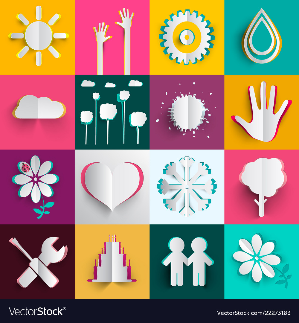 Paper cut icons oset n colorful backgrounds