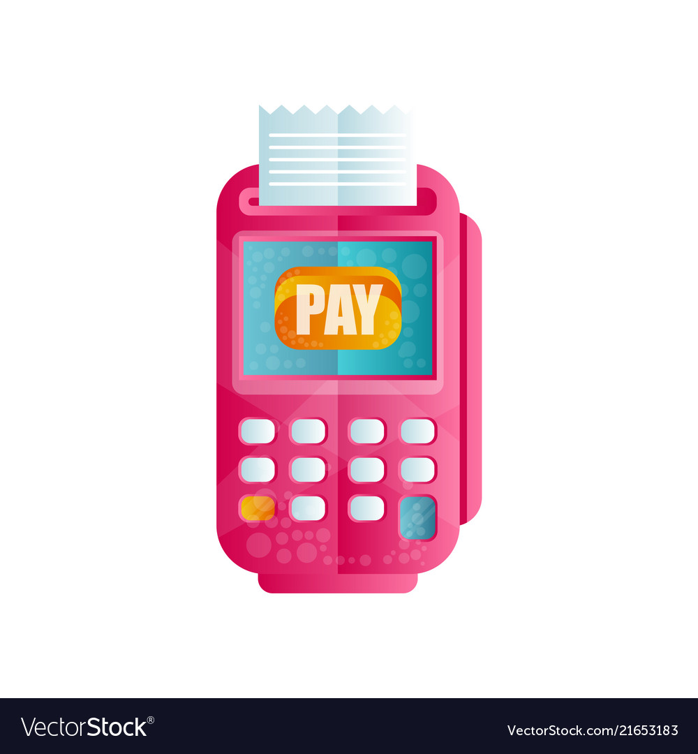 Pos terminal confirming the payment machine for