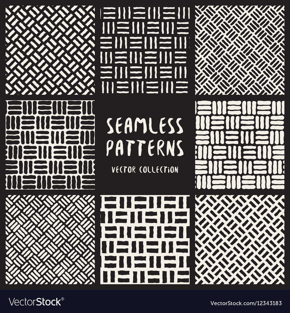 Set of Eight Seamless Black and White Hand Drawn