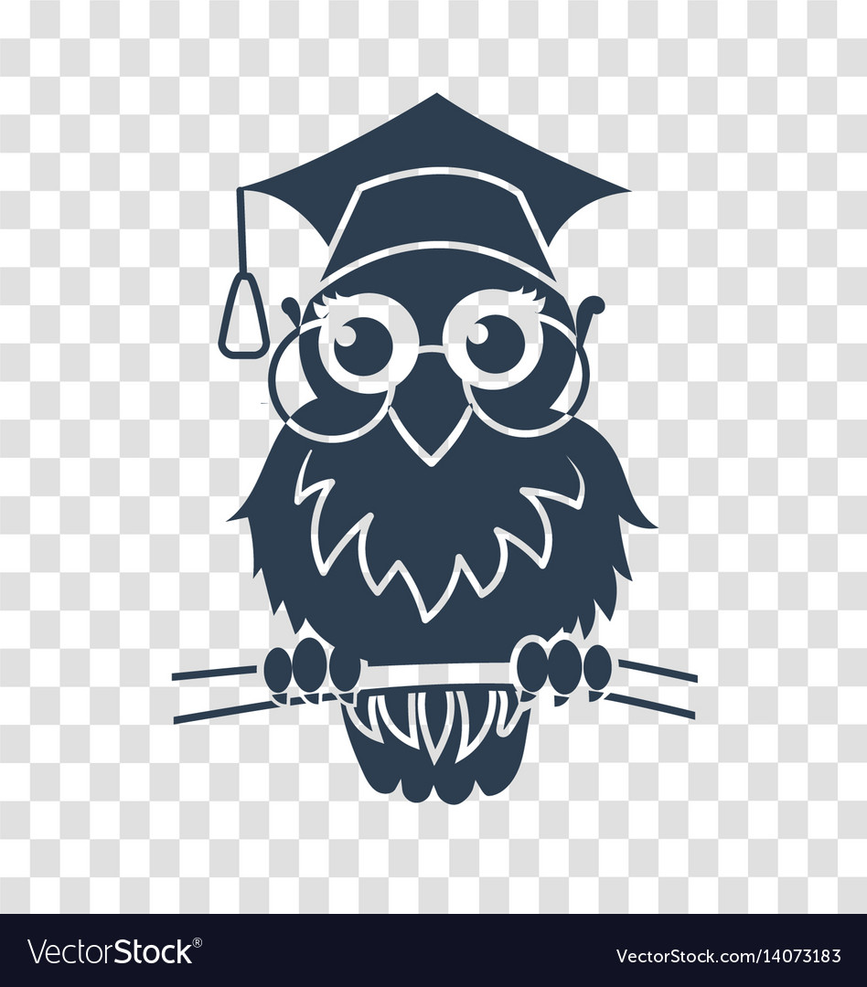 Owl School Silhouette Icon Back To Royalty Free Vector