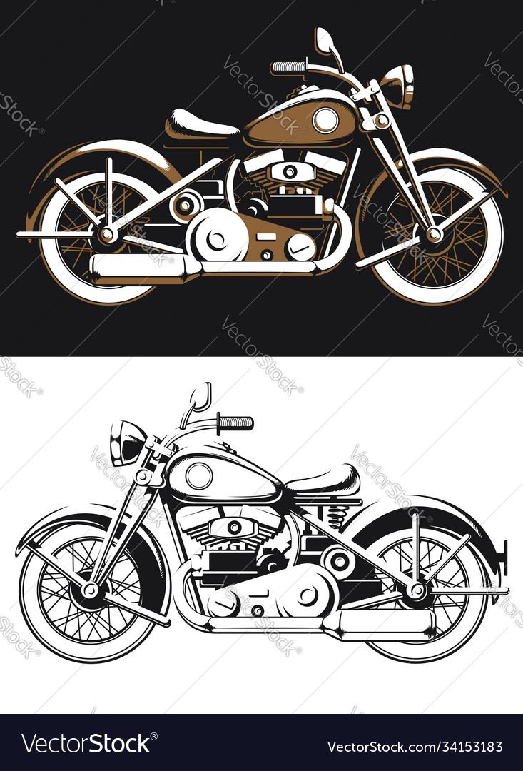 Silhouette vintage biker motorcycle sideview