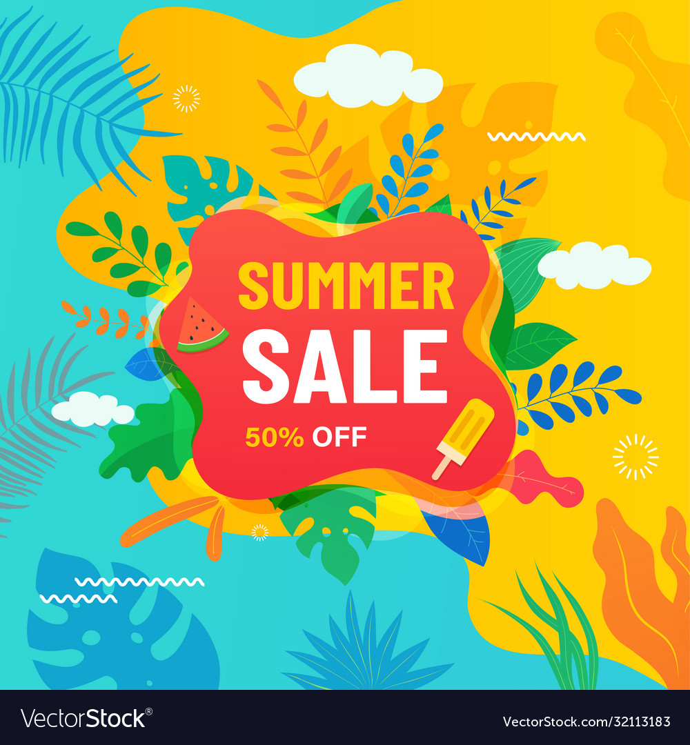 Summer abstract sale banner with tropical leaves