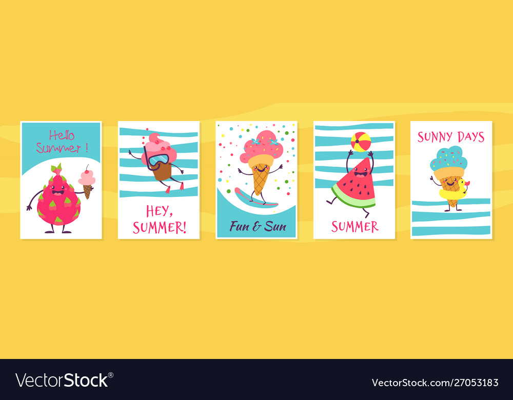 Summer cute cards cute doodle cupcake and ice