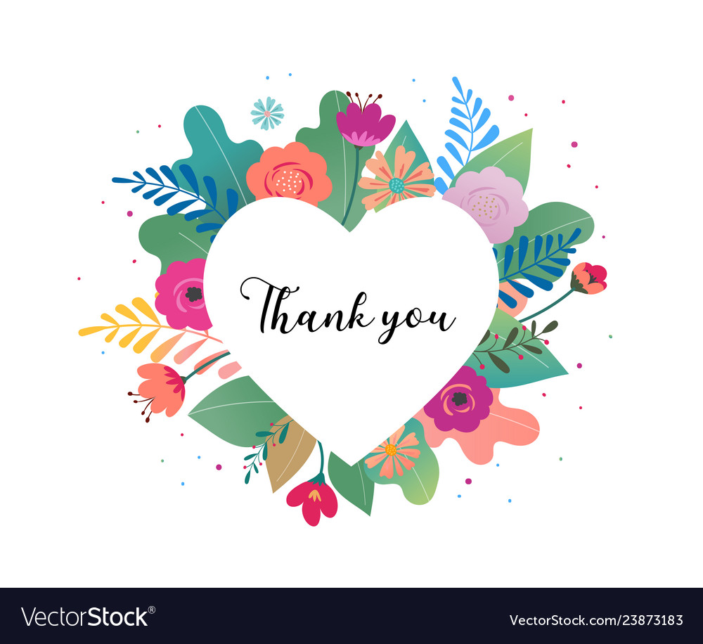 Thank you card big white heart with colorful