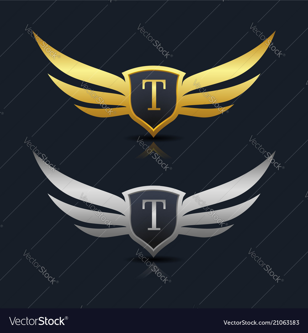Wings Shield Letter T Logo Template Royalty Free Vector