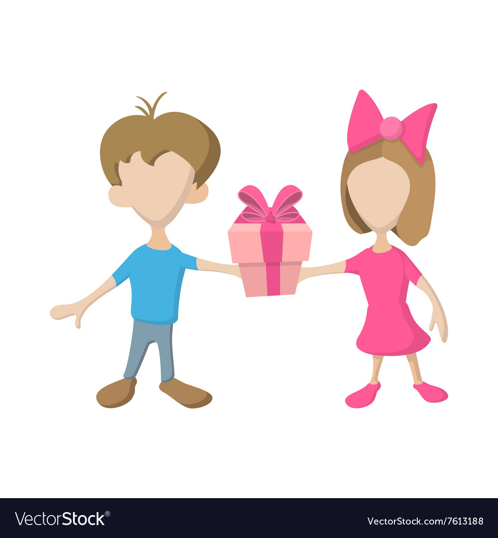 A girl and a boy holding a gift box with ribbon