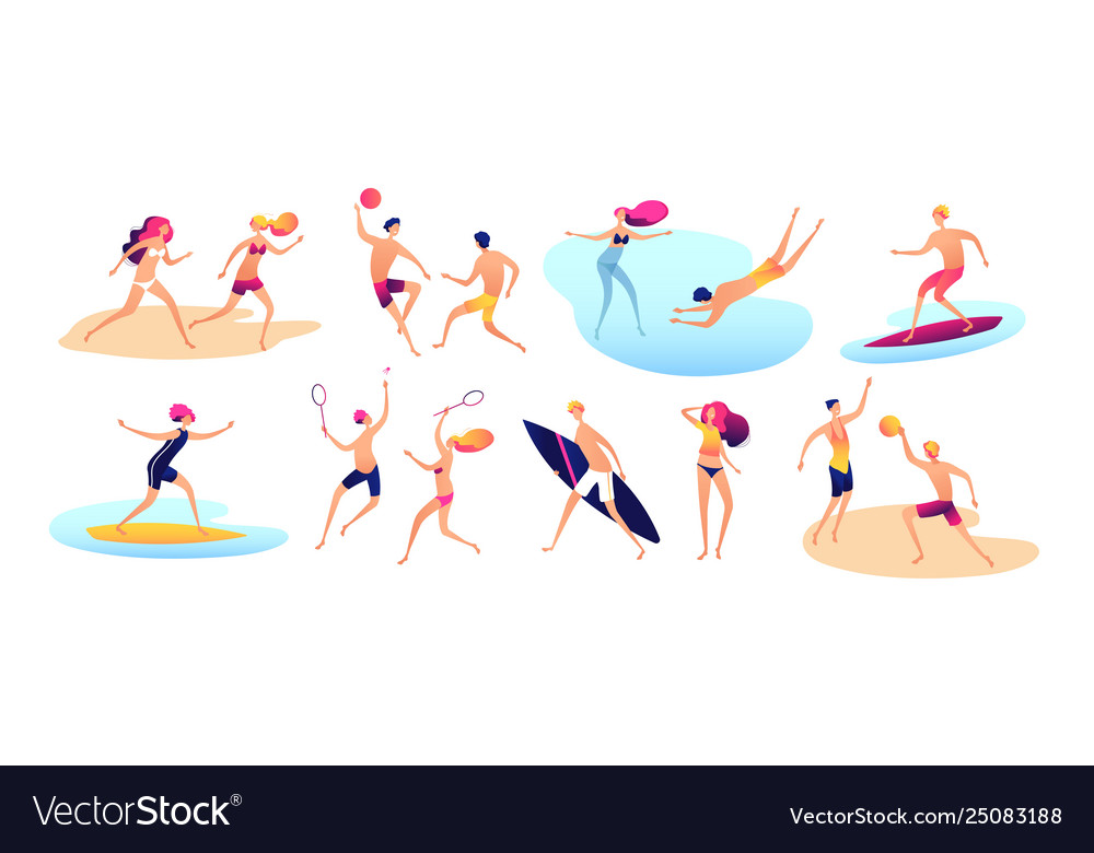 Beach people summer vacation family beach active