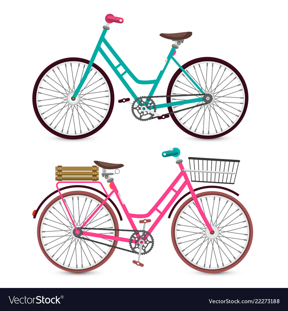 Bicycle icon bike symbol pink and blue retro