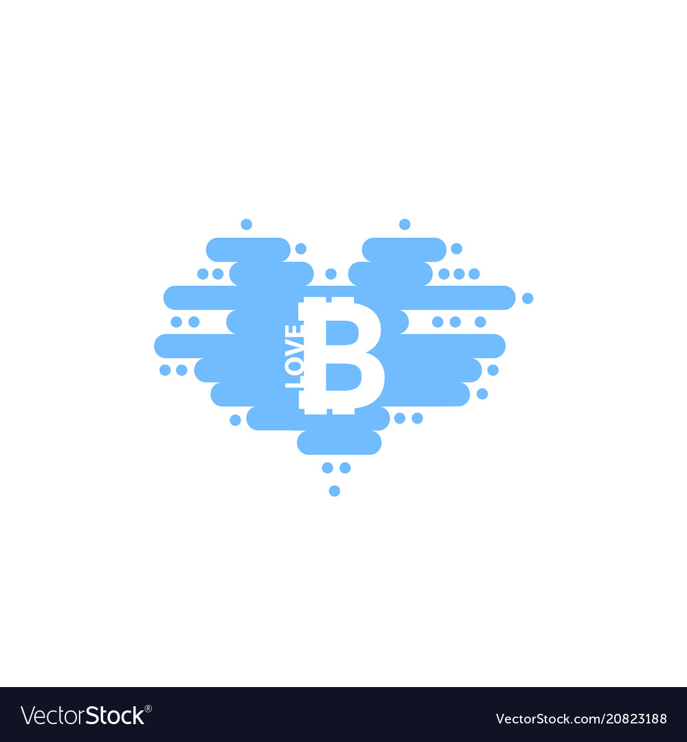 Bitcoin in cloud in the shape of a heart with