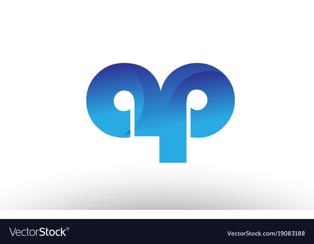 Blue Gradient Ap A P Alphabet Letter Logo Vector Image