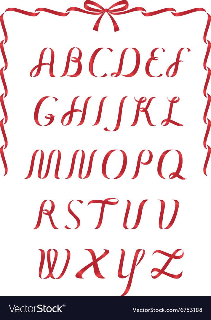 Christmas ribbon alphabet