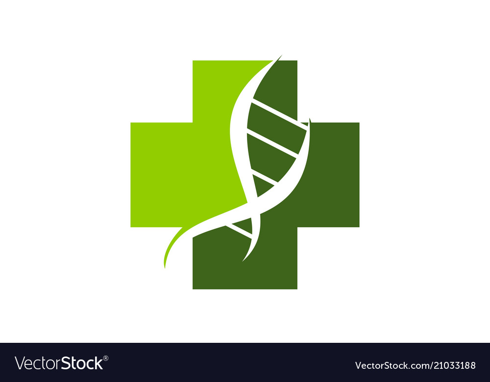 Dna cross logo design template