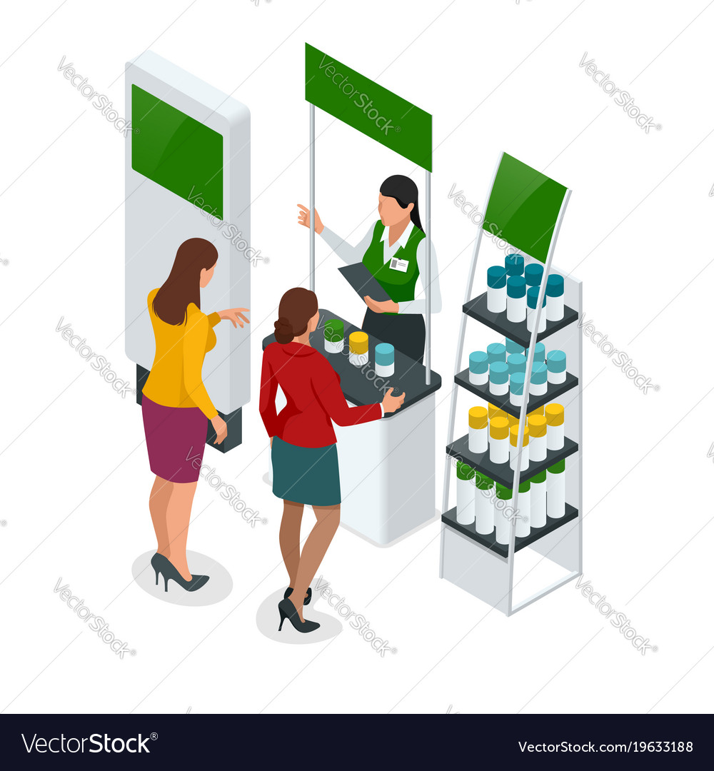 Isometric set of promotional stands or exhibition