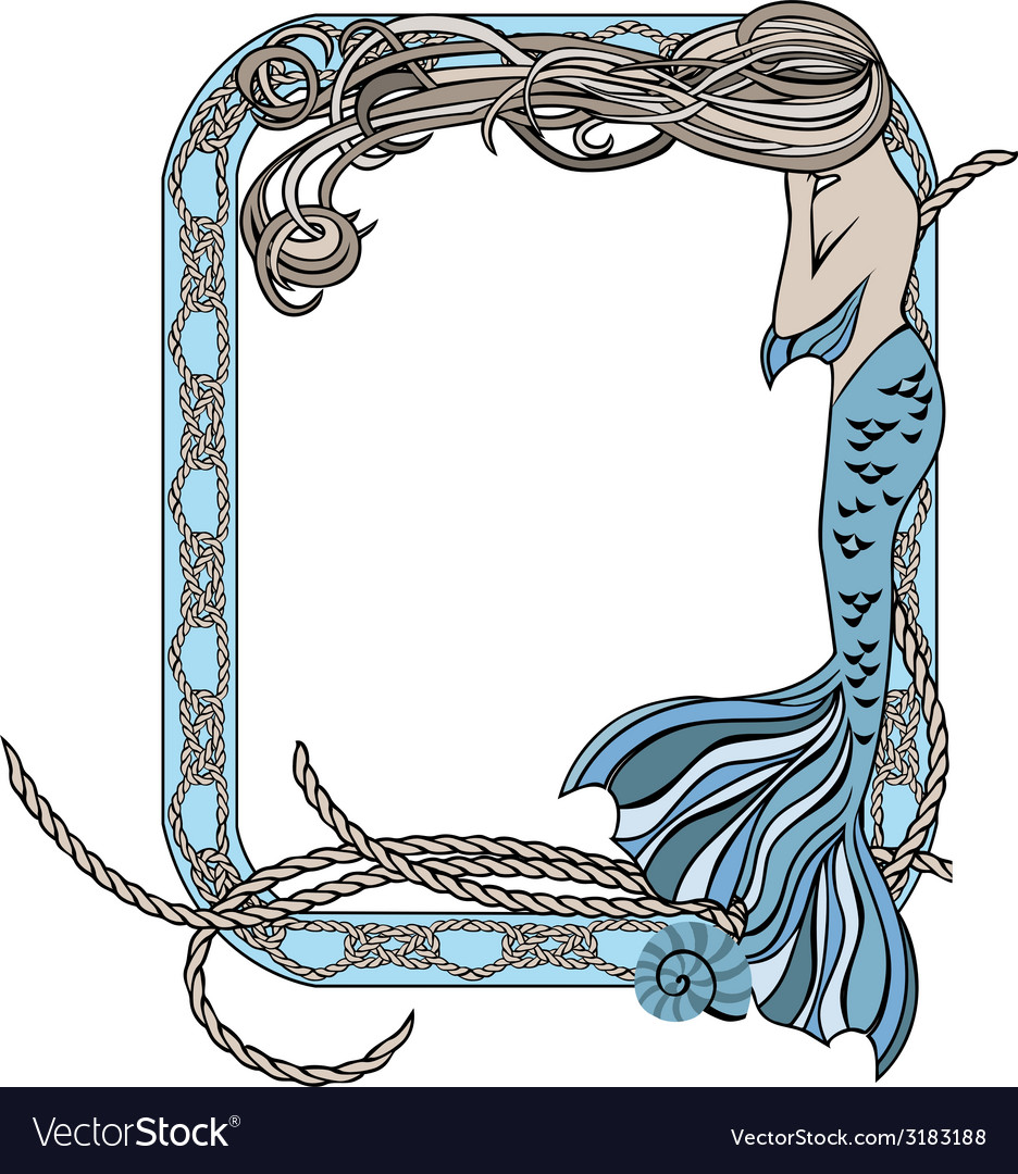 Sea frame with mermaid and knots Royalty Free Vector Image