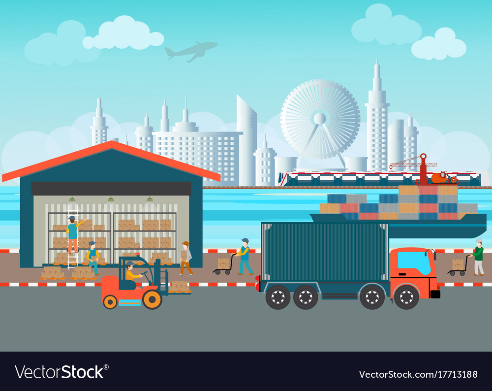 Workers of warehouse load boxes and pallet