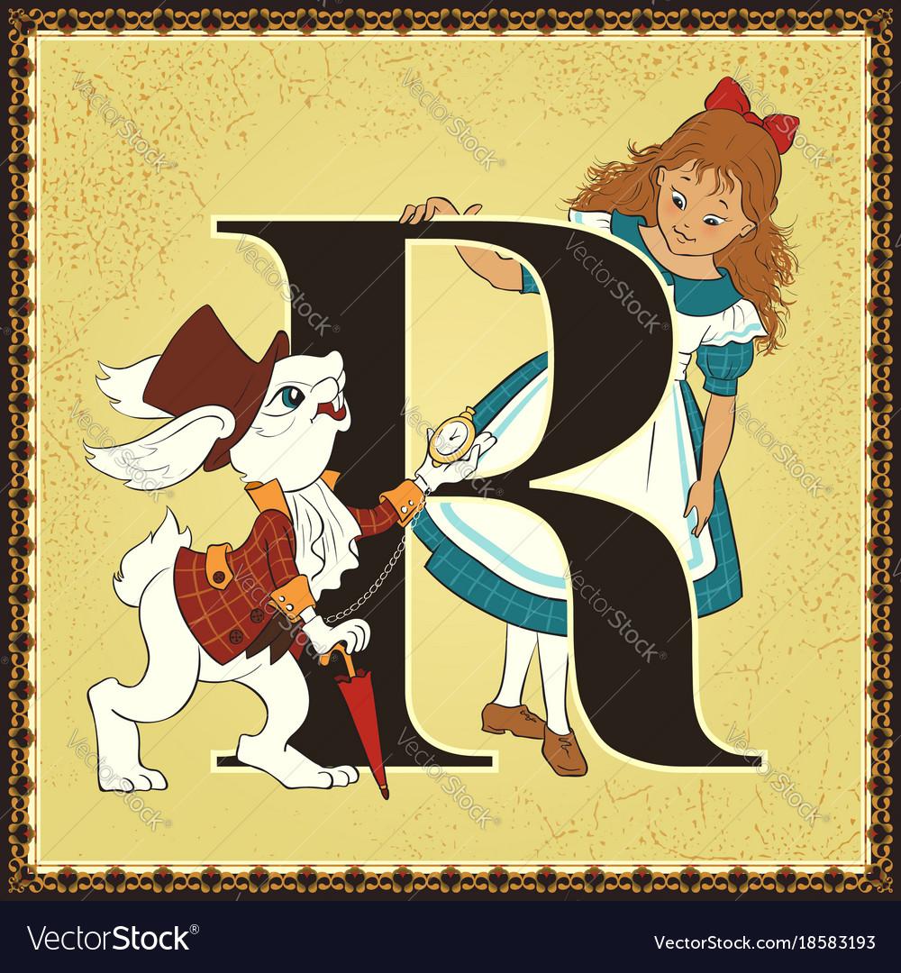 Children book cartoon fairytale alphabet letter r