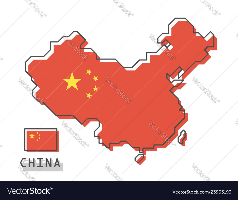 China map and flag modern simple line cartoon