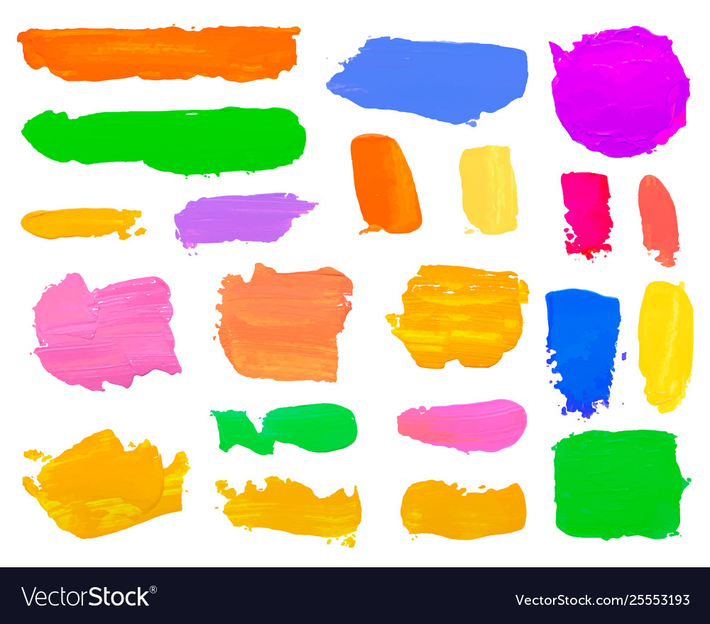 Color set paint draw brush on white background