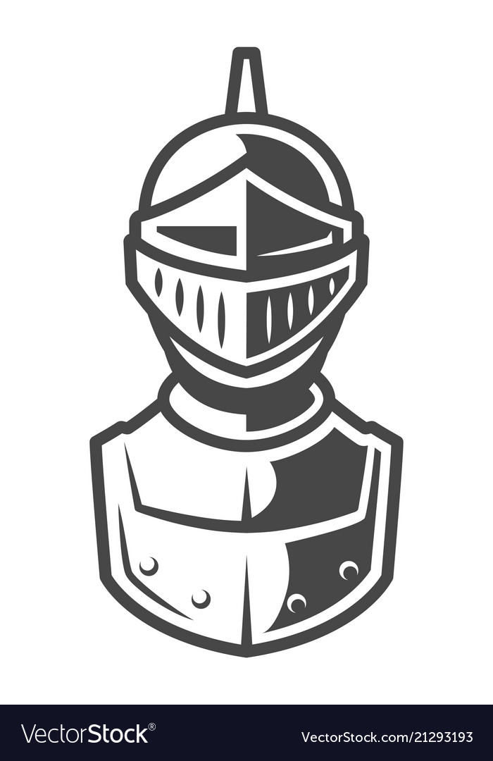 knight metal helmet front view template royalty free vector