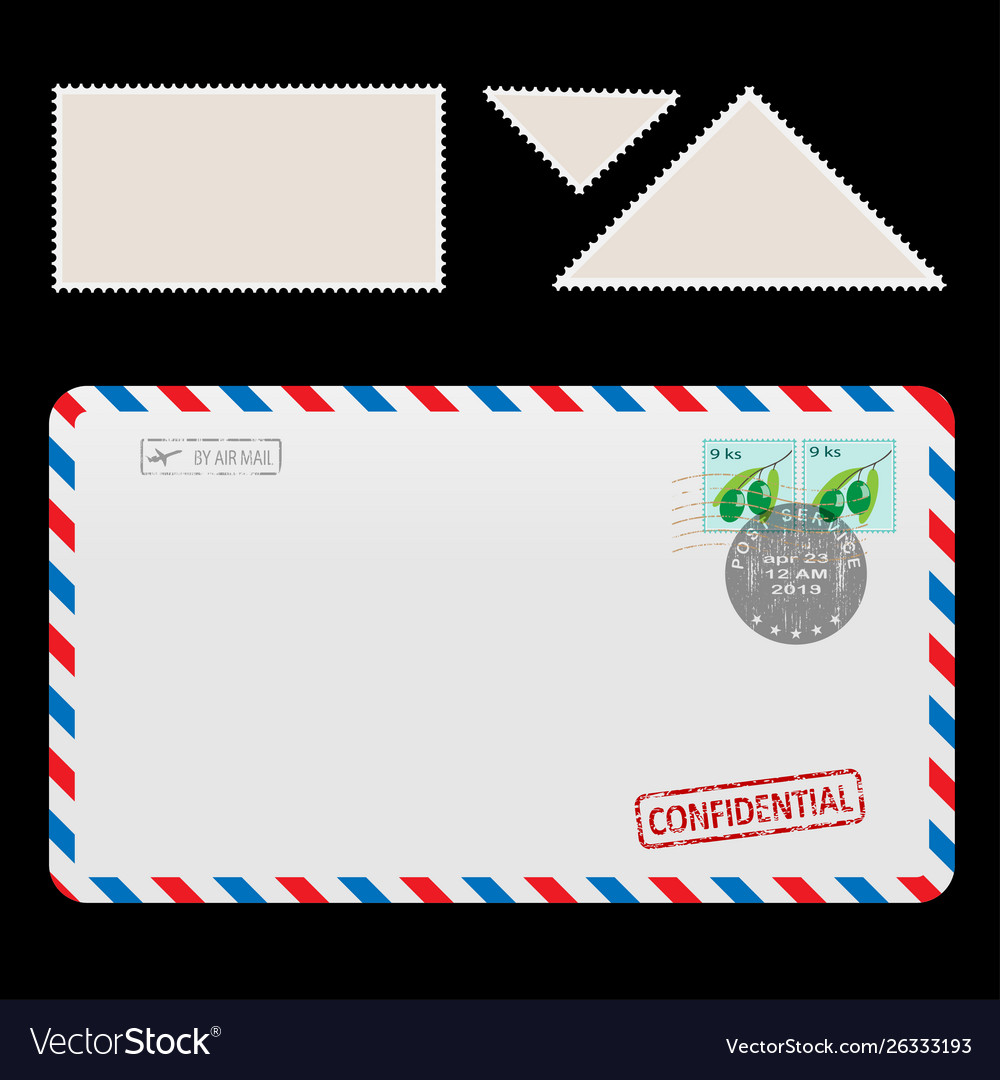 Mail air envelope icon with set postal stamp