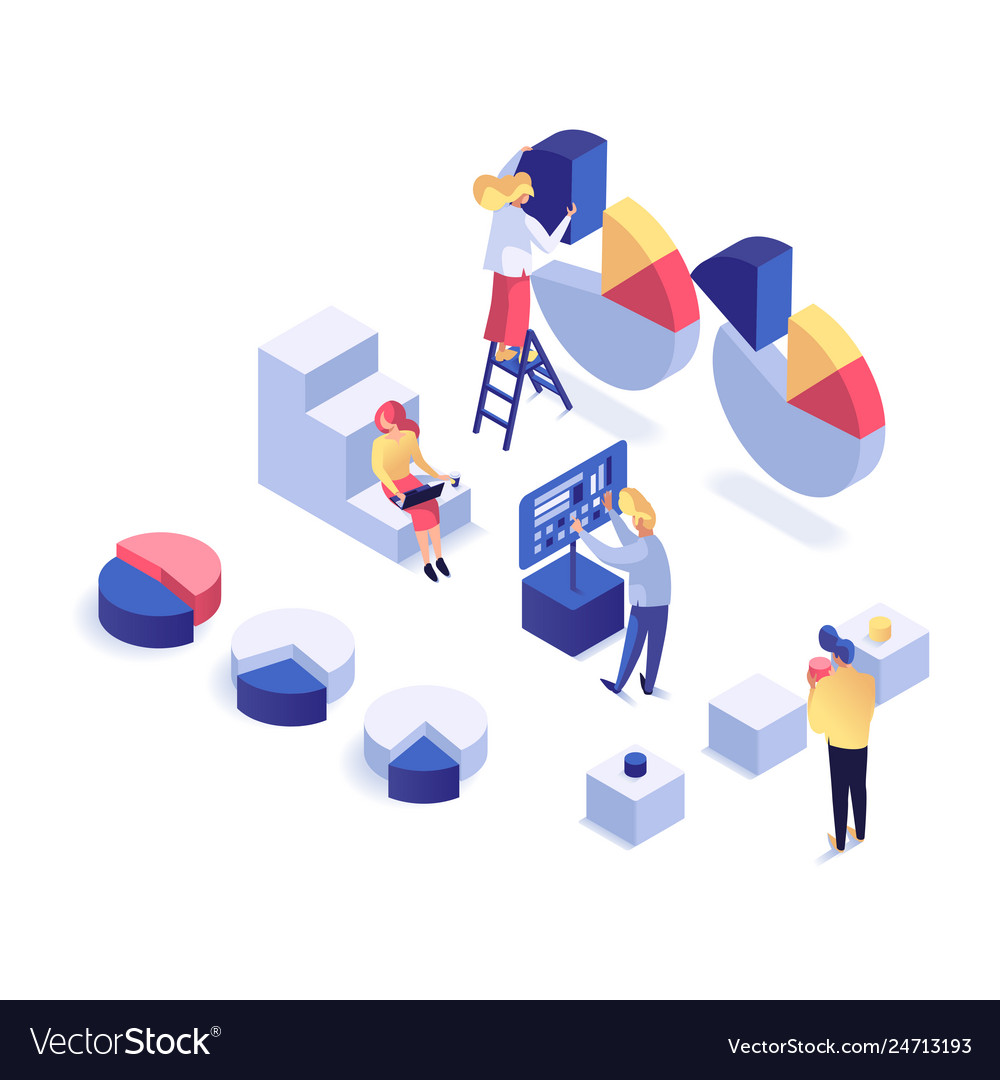 People interacting with charts isometric